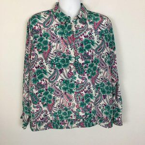 Vintage Alfred Dunner Top Paisley Floral Pink Plus